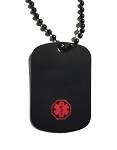 Stainless Steel Medical ID Dog Tag Pendant Necklace - Black Plated