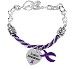 Lupus Awareness Rope and Silver Charm Bracelet