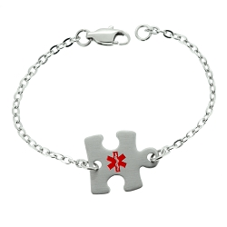 Puzzle Piece Stainless Steel Medical ID Bracelet