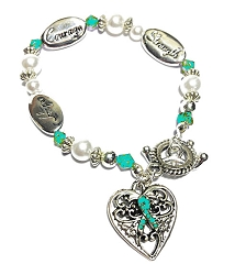 Scleroderma Awareness Silver Hope Strength Courage Charm Bracelet