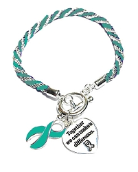 Scleroderma Awareness Silver Ribbon Teal Rope Charm Bracelet