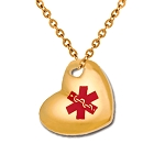 Stainless Steel Medical ID Pendant Necklace - Gold Puffed Heart