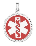 Diamond Cut Medical ID Pendant in Sterling Silver - 25mm