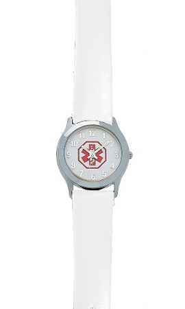 Women S Medical Id Watch With White Leather Band