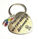 Autism Awareness Silver Ribbon and Heart Charm Key Chain
