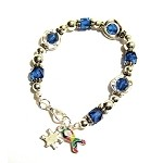 Autism Awareness Silver Circles Charm Bracelet