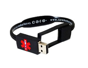 Care USB Medical History Bracelet - Black