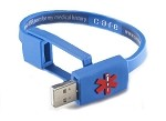Care USB Medical History Bracelet - Blue