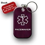 Pacemaker Medical Alert Dog Tag Necklace or Keychain ID