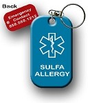 Sulfa Allergy Medical Alert Dog Tag Necklace or Keychain ID