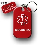 Diabetic Diabetes Medical Alert Dog Tag Necklace or Keychain ID