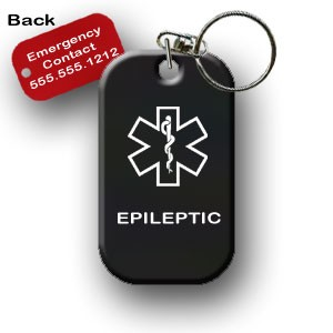 Epilepsy Epileptic Medical Alert Dog Tag Necklace or Keychain ID