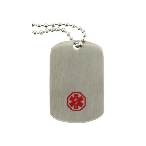 Stainless Steel Medical ID Dog Tag Pendant Necklace