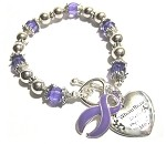Epilepsy Awareness Silver Ribbon and Heart Charm Bracelet