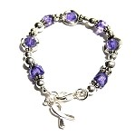 Epilepsy Awareness Silver Circles Charm Bracelet