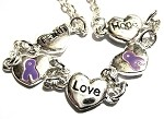 Epilepsy Awareness Silver Hope Faith Love Charm Bracelet