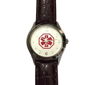 Women S Medical Id Watch With Brown Leather Band
