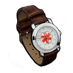 Women's Medical ID Watch with Brown Leather Band