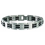 Men's Executive Stainless Sabona Magnetic Bracelet with Rubber