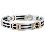 Men's Black Cable Duet Sabona Magnetic Bracelet
