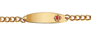 Stainless Steel Medical ID Bracelet with 8 Inch Chain - Gold Plated