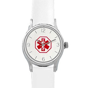 Women's Medical ID Watch with White Leather Band