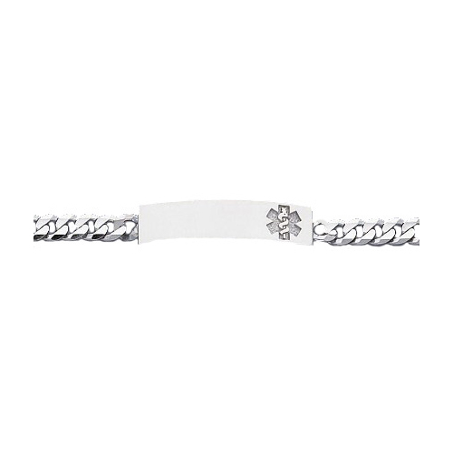14K White Gold Medical ID Bracelet with Concave Curb Chain
