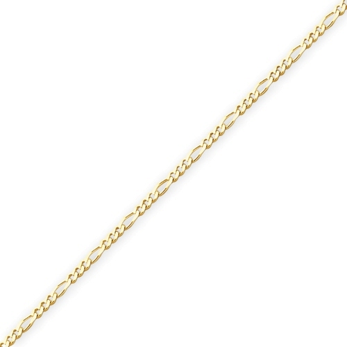 14K Yellow Gold Concave Figaro Chain Necklace - 2.4mm Width