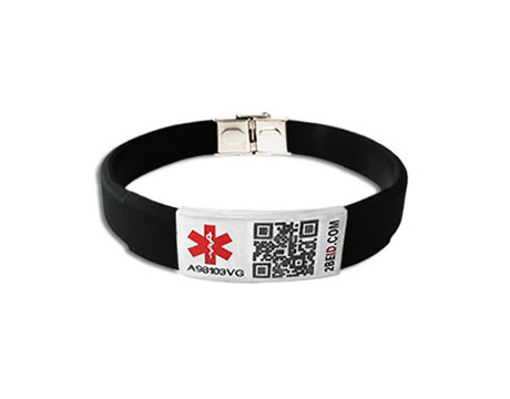 2BEID QR Code Medical ID Bracelet - Black Thin Width