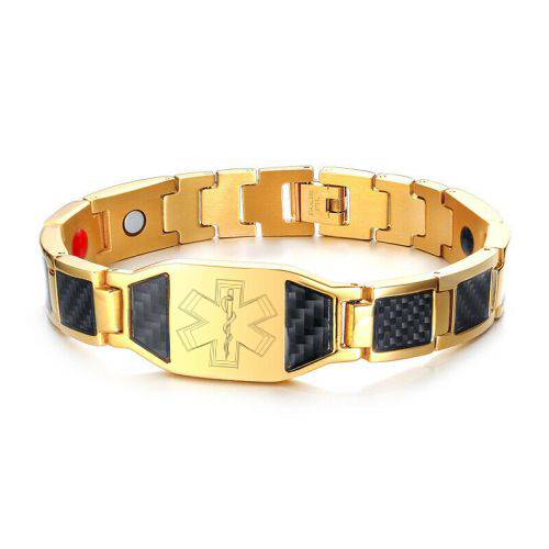 Black Carbon Fiber Magnetic Medical ID Bracelet - Gold Tone