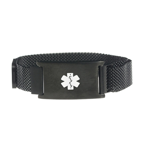 Black Tone Magnetic Closure Medical ID Bracelet