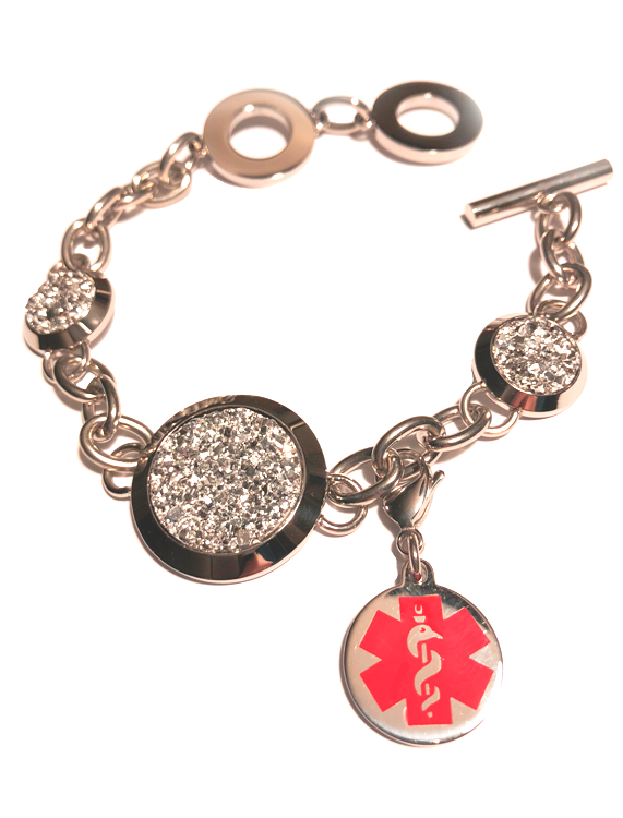 Bling Bracelet with Medical ID Clip On Charm