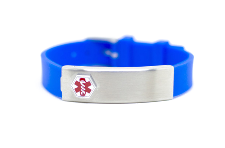 Blue Rubber Stainless Compartment Medical ID Bracelet
