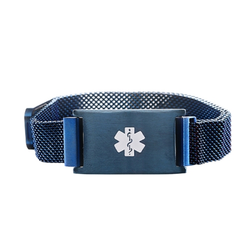 Blue Tone Magnetic Closure Medical ID Bracelet