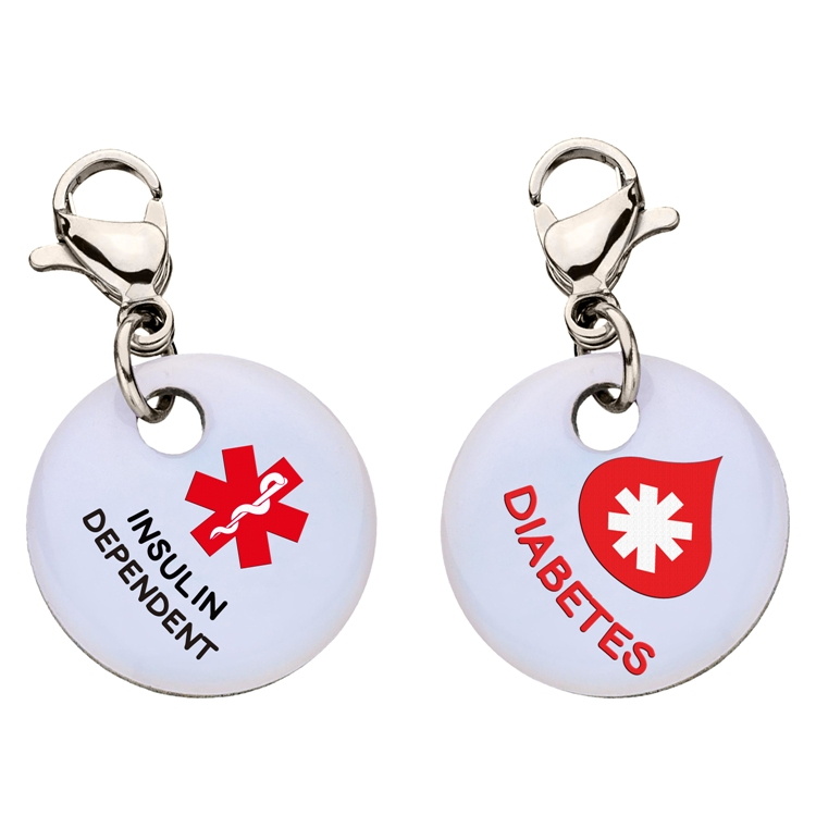 Clip On Aluminum Medical ID Charm - DIABETES INSULIN DEPENDENT Blood Drop