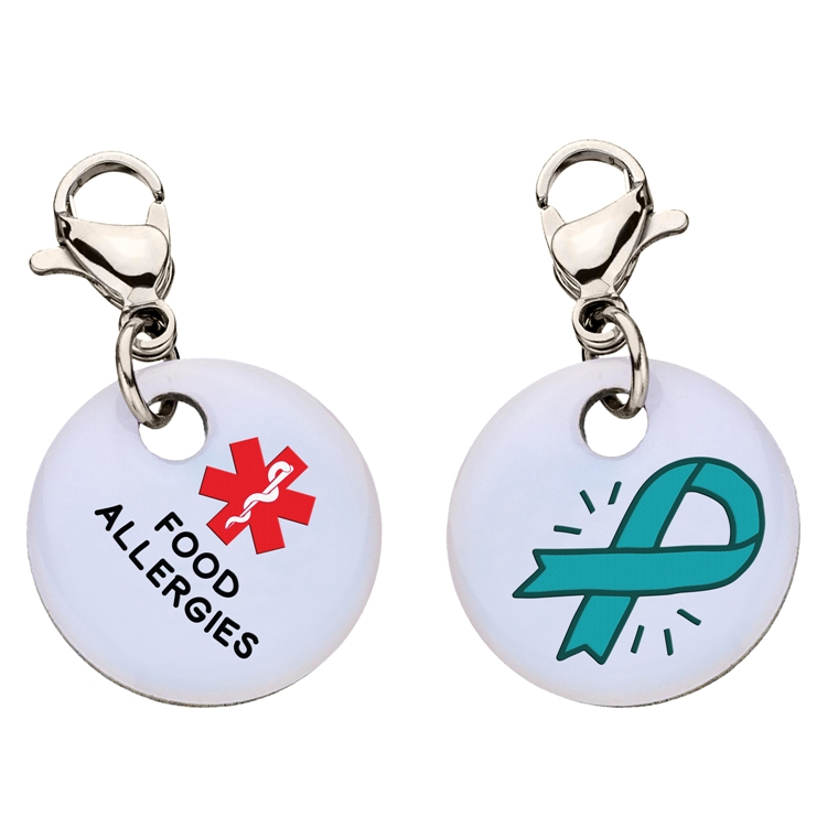 Clip On Aluminum Medical ID Charm - FOOD ALLERGIES