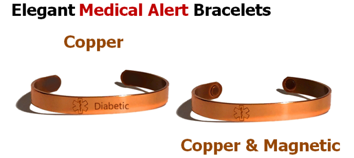 Copper and Magnetic Medical ID Health Bracelets