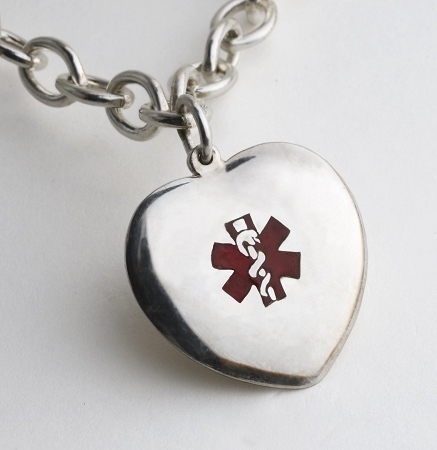 Diamond heart medical alert necklace aloadofball Image collections