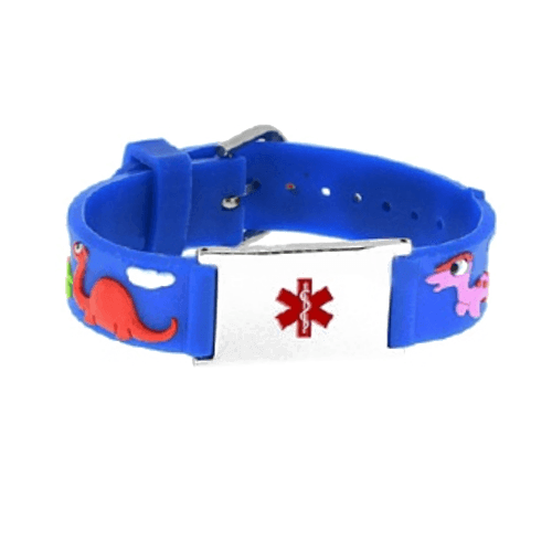 Dinosaur Rubber and Stainless Steel Kids Medical ID Bracelet - Blue