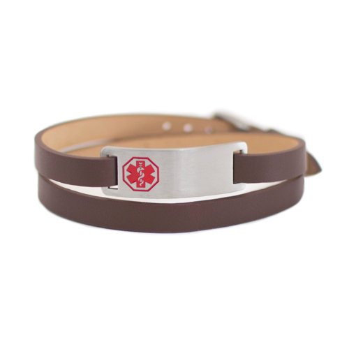 Double Wrap Medical ID Bracelet - Brown Leather