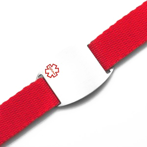 Stainless Steel Medical ID Bracelet with Red Sport Strap