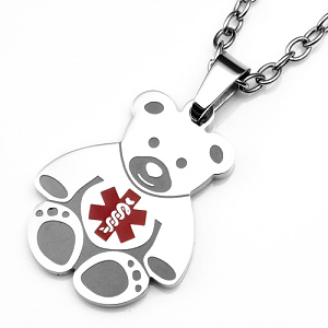 Teddy Bear Stainless Steel Medical ID Pendant