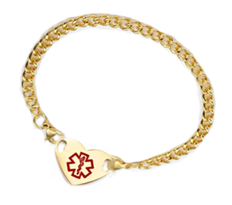 Stainless Steel Gold Plated Heart Charm Medical ID Bracelet