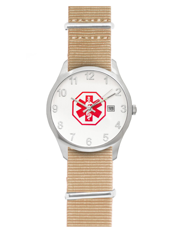 Men's Nato Medical ID Watch - Tan