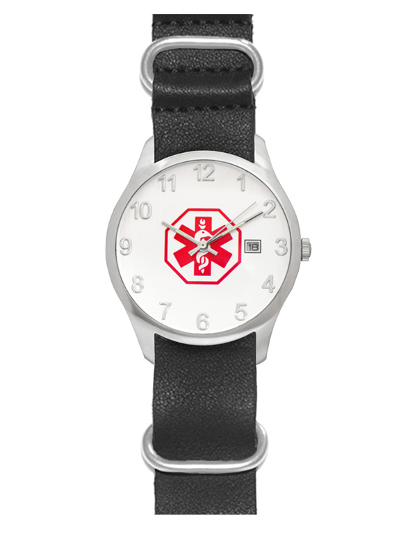 Men's Nato Medical ID Watch - Black Leather