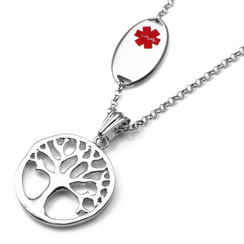 Tree charm medical id pendant necklace mozeypictures Image collections