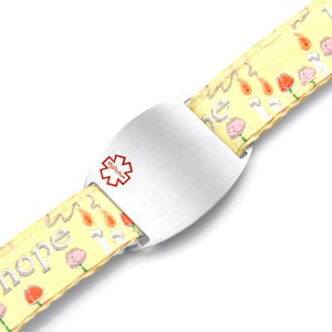 Kids Stainless Steel Medical ID Bracelet with Hope Sport Strap