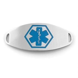 Medical ID Tag for Custom Bracelets - Stainless with Large BLUE Symbol - 1 1/2 Inch Length