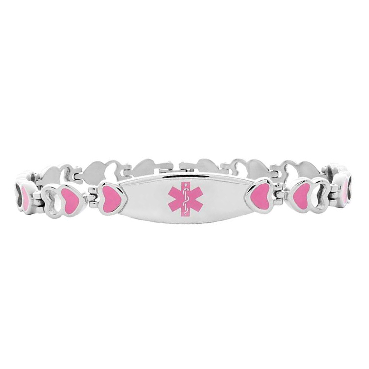 Heart Link Stainless Steel Medical ID Bracelet - Pink