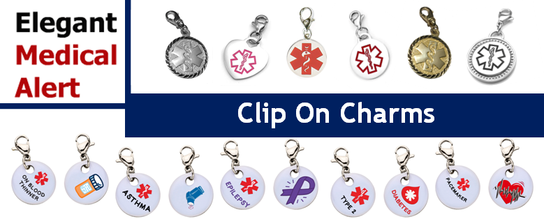Turn An Ordinary Bracelet Into Extraordinary Medical Id By Adding One Of Our Clip On Charms With Easy And Off Lobster Claw Clasp